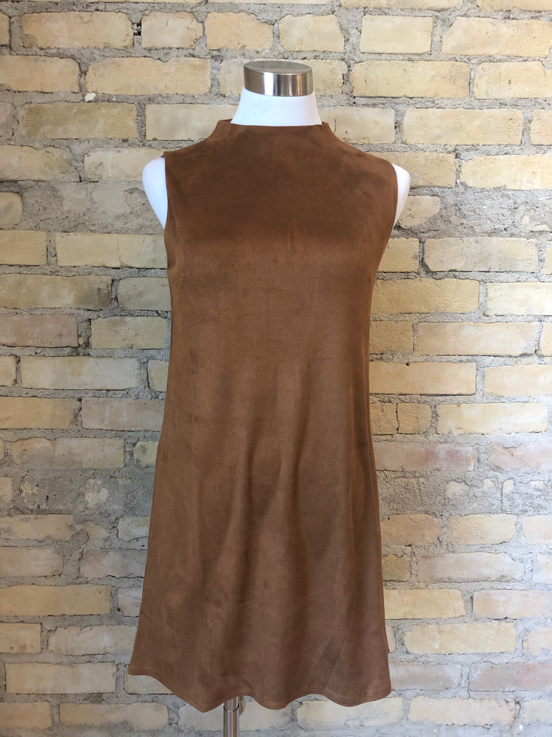 Sadie Amp Sage Caramel Sleeveless Lyla Suede Mock Dress Aa333668